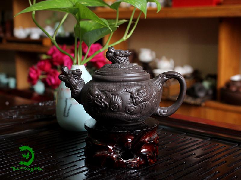 Ấm Tử Sa Song Long Chầu Nguyệt - ATS446