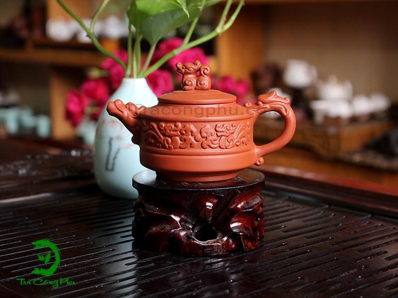Ấm Tử Sa Song Long Chầu Nguyệt - ATS451