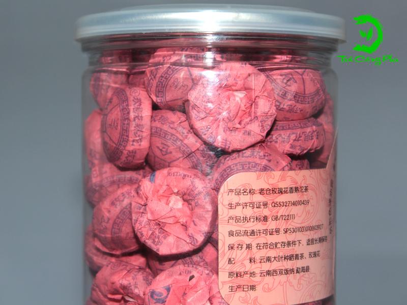 Trà Phổ Nhĩ hộp nhựa Hoa hồng - PNHH550